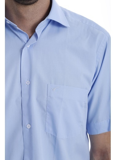 Wessi Erkek Klasik Kesim Desensiz Keten Gömlek Mavi
